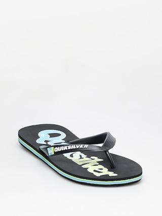 papuci de plaju0103 Quiksilver Molokai Wordmark Fineline (black/green/blue)