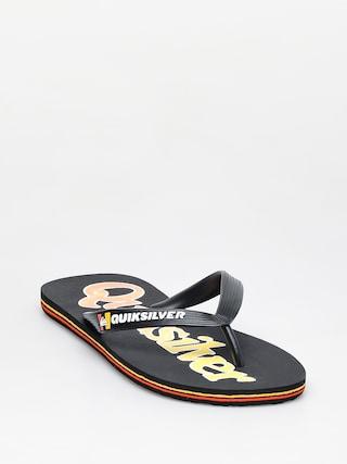 papuci de plaju0103 Quiksilver Molokai Wordmark Fineline (black/black/yellow)