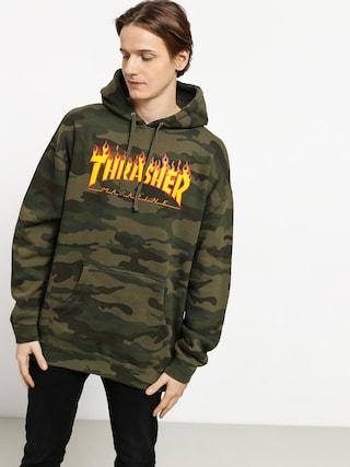 Hanorac cu glugă Thrasher Flame HD (forest camo)