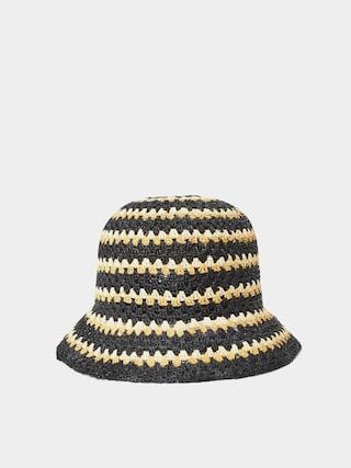 Pu0103lu0103rie Brixton Essex Raffia Bucket Hat Wmn (black/white/sunset)