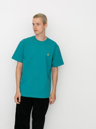 Carhartt WIP Tricou Chase (frosted turquoise/gold)