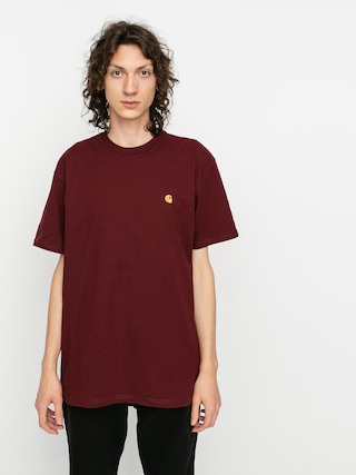 Carhartt WIP Tricou Chase (bordeaux/gold)