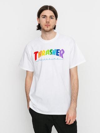 Thrasher Tricou Rainbow Mag (white)