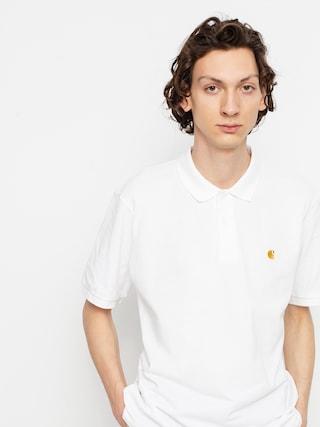 Tricou polo Carhartt WIP Chase Pique (white/gold)