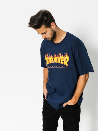 Tricou Thrasher Flame Logo (navy/blue)